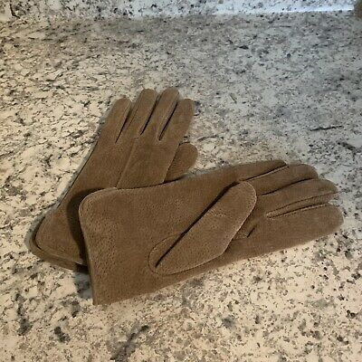 ARIS Suede Leather Gloves Size L Brown Tan Women's