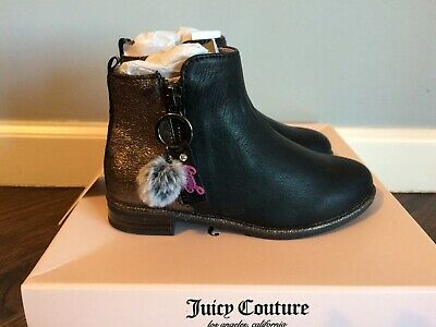 NIB Juicy Couture Girls Black Pewter Napa zipper Boots booties Shoe kids Size 11