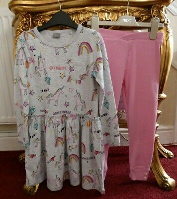 Next Girls Age 5-6 years Outfit Unicorn long sleeve Dress Top & Pink leggings