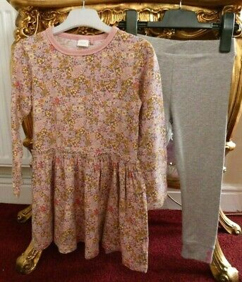 Next Girls Floral Cotton Dress Top & leggings Outfit Age 5-6 yrs Spring/Summer