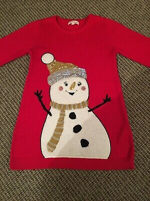 Girls Blue Zoo Red Xmas Snowman Design Jumper Dress Age 2-3 Years
