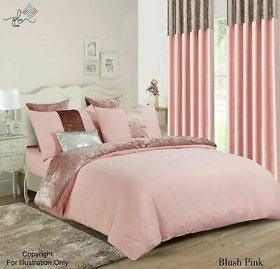 Luxury Blush Pink Crushed Velvet Panel Duvet Cover with Pillow Case Bedding Set