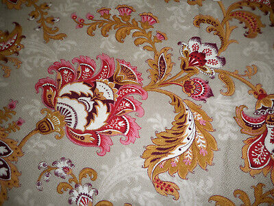 Antique French Indienne Jacobean Floral Cotton Fabric ~Rose Red Caramel Eggplant