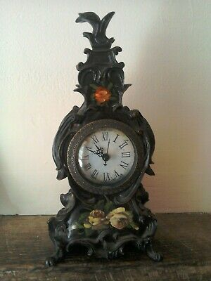 Hand painted reproduction Napolean III mantle clock