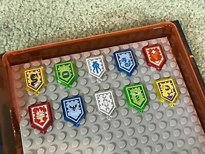LEGO Nexo Knights Shield Case + 10 DIFFERENT Shields Yellow Red Blue Green Clear