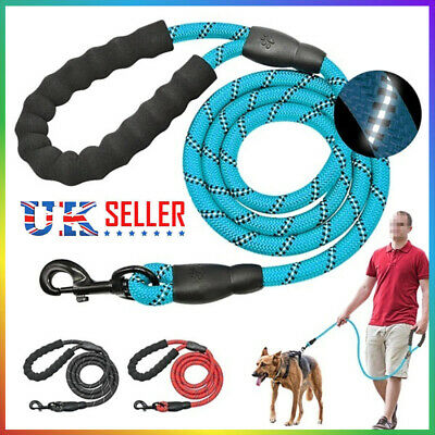 Dog Leash 5FT Pet Dog Walk Leads Extra Strong Light Soft Reflective Braided Rope