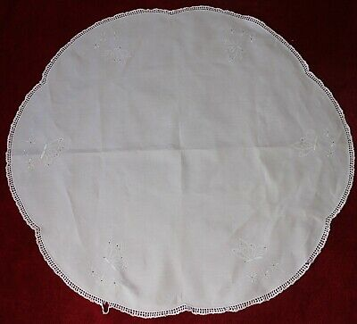 Small Vintage White Round Table Cloth Embroidered Monogram Butterflies ~ Damaged