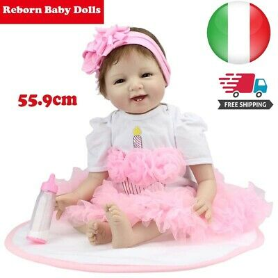 "22"" Lifelike Reborn Baby Doll 55.9CM Doll Kids Girl playmate Regalo di natale"
