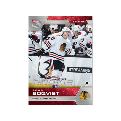 Adam Boqvist NHL Hockey 2019-20 Topps NOW Week 5 Chicago Black Hawks 1st NHL GOA