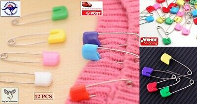 12 Pcs Nappy Safety Pins Small Baby Care Scrapbook Sewing Baby Diaper [B2A~E15]