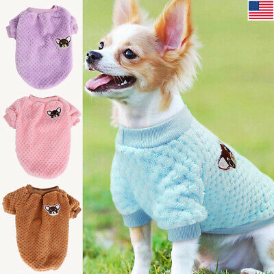 Dog Knitted Sweater Embroidery Chihuahua Clothes Pet Puppy Cat Jumper Apparel US