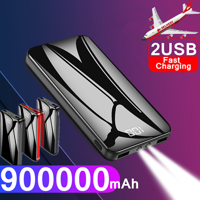 900000mAh Portable Power Bank Dual USB Pack Battery Charger For Mobile Phone