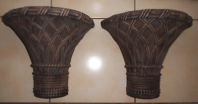 """Set of 2 Very Large Bamboo Design Corbels Sconces Shelves 6.5x11x12.5"""" VG Cond."""
