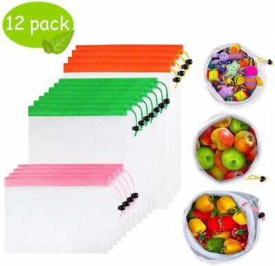 Eco Friendly Bags Reusable Mesh Produce & Fruit Grocery Shopping Bag Washable 12