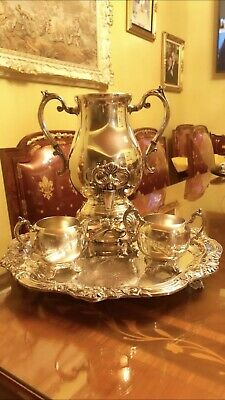 FB Rogers Silver Co Platter Teapot Sugar & Creamer Set Signed set of 6 pieces