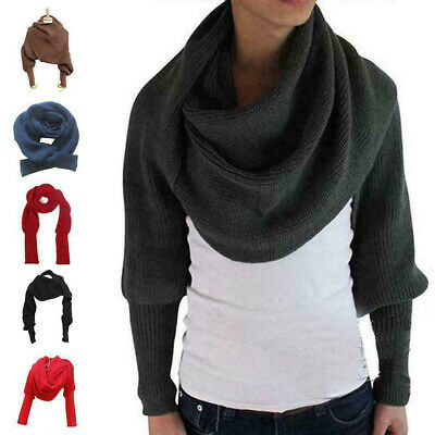 Women Knitted Sweater Tops Scarf with Sleeve Wrap Winter Warm Shawl Scarves New