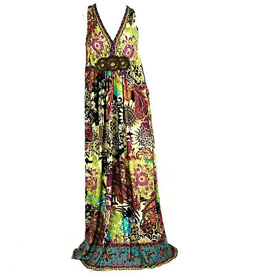 ECI Womens Dress 12 Green Brown Paisley Floral Boho Wood Beads Sleeveless Maxi