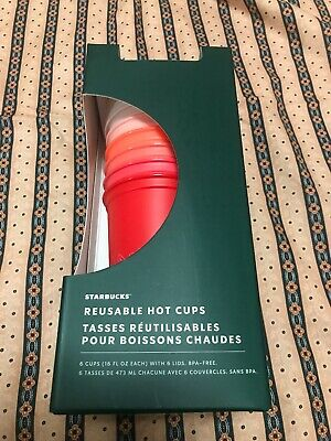 Starbucks 2019 Fall Winter Holiday Christmas Reusable Hot Cups 6 Pack New