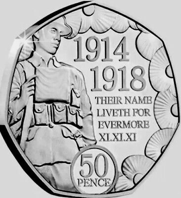 Isle Of Man Coin 50p Pence 2018 Poppy Rememberance 100y End WWI New UNC from Bag