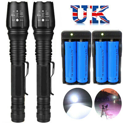 1000000LM T6 LED Rechargeable High Power Torch Flashlight Lamps Light +Charger