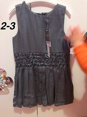 Girls 2-3 Grey Silver Sleeveless Formal Party Summer Dress - Next, New Tags