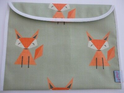 Baby Health Red Record Book Holder-Fully Lined-Oilcloth -FOXES -GIFT -NEW