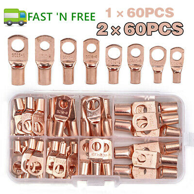 60/120PCS Car Auto Copper Ring Lug Terminal Wire Bare Cable Crimp Connectors US