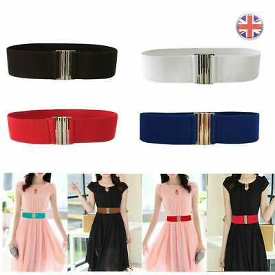Women Girls Wide Waist Belt With Silver Buckle Thick Elasticated Stretch Belts