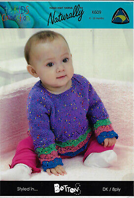 BABY SCALLOPED DRESS /& DOUBLE BREASTED CARDIGAN KNITTING PATTERN 18//21 IN 1267