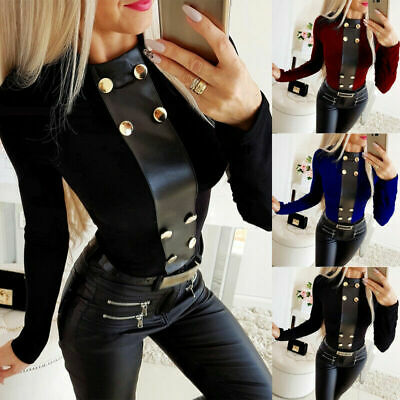 UK Women Leather Turtle Neck Button Tops Ladies Sexy Slim Long Sleeve Blouse