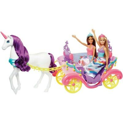 Barbie Dreamtopia Unicorn Carriage With 2 Dolls Kids Girls Toy NEW