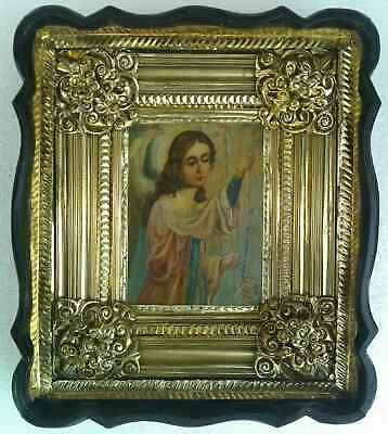 "Antique 19c Russian Orthodox Hand Painted Wood Icon "" Angel of Prayer"""