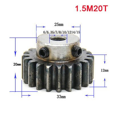 1.5Modulus 20T 45# Steel Spur Gear With Step Motor Pinion Gear With Set Screws