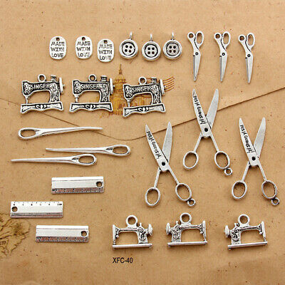 20Pc Mixed Alloy Charms Tibetan Silver Sewing Scissors Ruler Button Pendant DIY