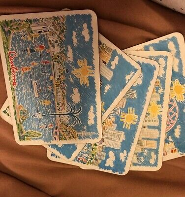 Set Of 5 KEN DONE Placemats, Australiana, Capital Cities, Done, 1980, Kitsch