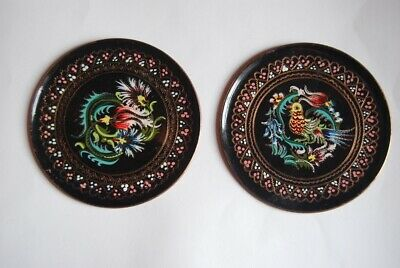 2 Enamelled, copper plates. Folk Art Barge-ware. Hand painted