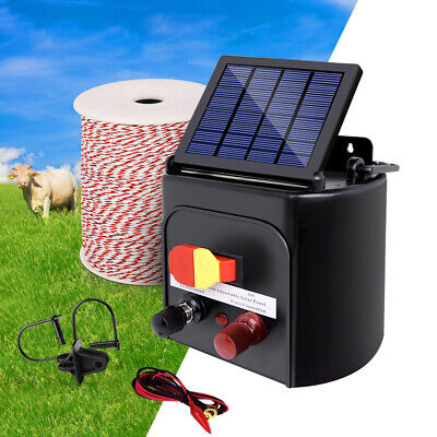 3km Solar Electric Fence Energiser Set Energizer Charger Tape Insulator Farm Kit