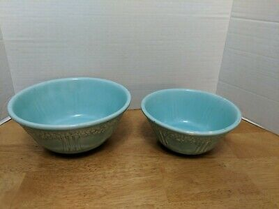 "(2) Antique 1930's Homer Laughlin Green ""Orange/Apple Tree"" Mixing Bowl Lot I"