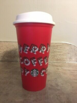 Starbucks 2019 Red Reusable Cup Grande 16oz MERRY COFFEE Christmas