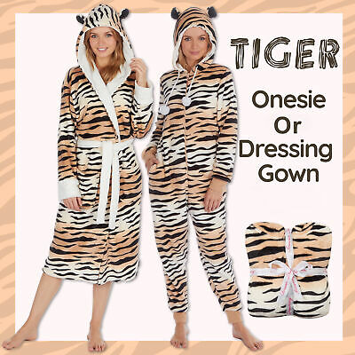 Ladies Womens Tiger Hood Dressing Gown Bath Robe 1Onesie Jumpsuit Playsuit Gift