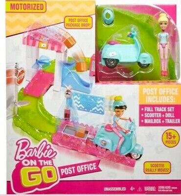 Barbie On The Go Post Office Playset 15 Piece Set Figure Doll Motorized Scooter