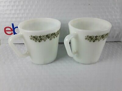 PAIR VINTAGE Pyrex Spring Blossom Mugs Border Green White Coffee Cups #1410