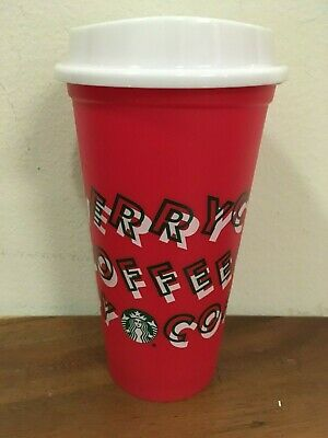 Starbucks Reusable Red Cup Grande 16oz MERRY COFFEE Christmas 2019 Winter