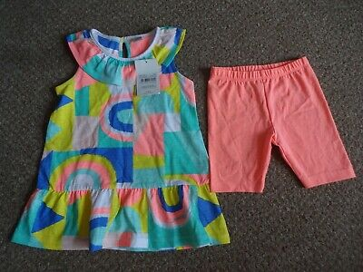 Girls Summer Clothes - 2-3 Years New Funky Outfit - Tunic Top & Shorts Bnwt