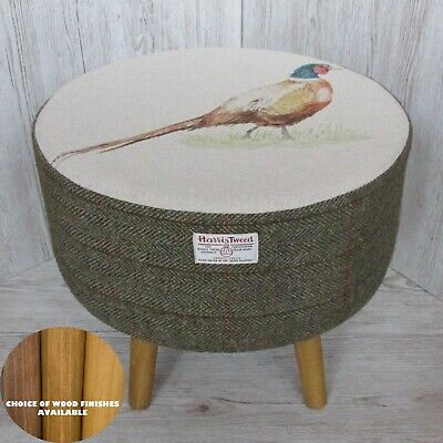 Harris Tweed Footstool Green & Fawn Herringbone Footstool with Pheasant Top