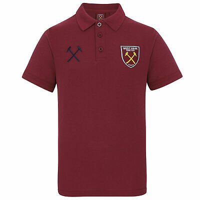 West Ham United FC Official Kid's Crest Polo Shirt - 10-11 Years - Claret - New