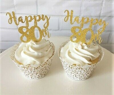 X6 /'Happy Birthday Dad/' Cupcake Toppers//Plant Picks-Birthday-Dad-Glitter-Party
