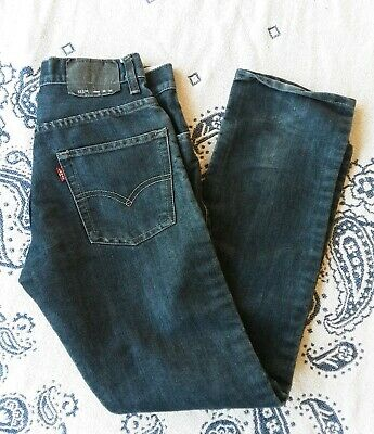 Levi's 511 Boys Jeans Dark Blue Wash Denim Slim Black Label Size 16 Reg 28 x 28