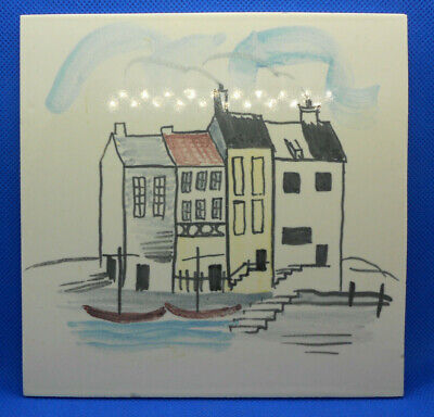 Dorincourt Potters Leatherhead Tile hand painted Cottages Boats Alistair Macduff