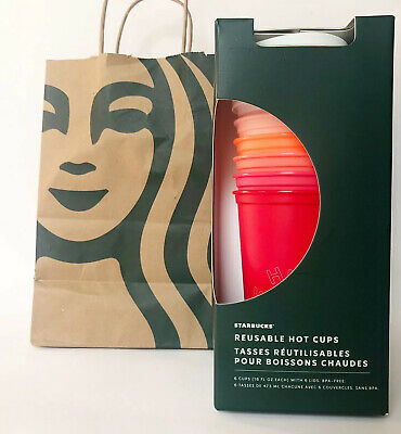 Starbucks Holiday Christmas 2019 Reusable Hot Cups 6 Pack Lids 16 Ounces